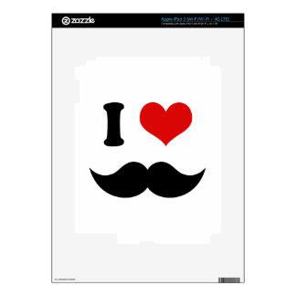 I Heart I Love Black Mustache iPad 3 Decal