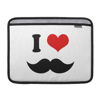 I Heart I Love Black Mustache MacBook Sleeve