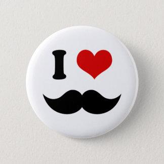 I Heart I Love Black Mustache Pinback Button