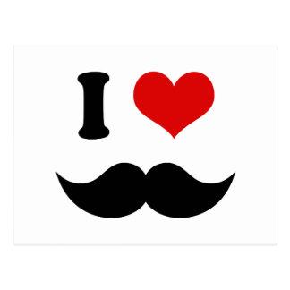 I Heart I Love Black Mustache Postcard