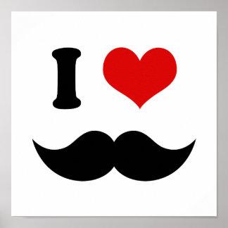 I Heart I Love Black Mustache Poster