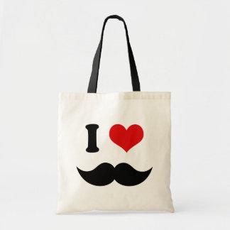 I Heart I Love Black Mustache Tote Bag