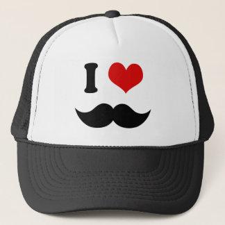 I Heart I Love Black Mustache Trucker Hat