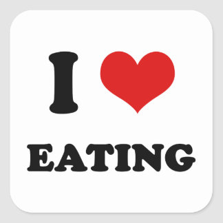 I Heart I Love Eating Square Sticker