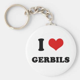 I Heart I Love Gerbils Basic Round Button Keychain