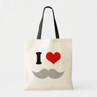 I Heart I Love Gray Mustaches Tote Bag