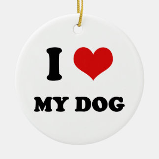 I Heart I Love My Dog Christmas Tree Ornaments