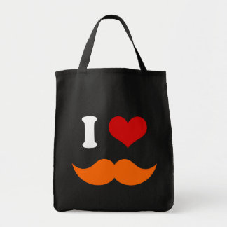 I Heart I Love Orange Mustache Tote Bag