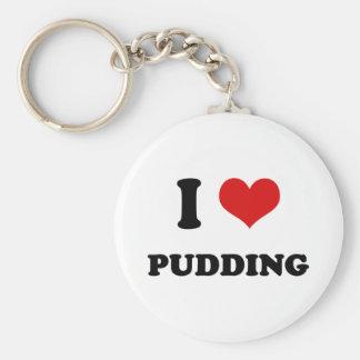 I Heart I Love Pudding Basic Round Button Keychain