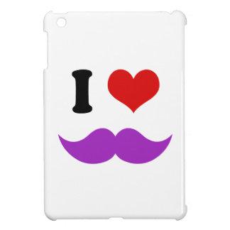 I Heart I Love Purple Mustaches iPad Mini Covers