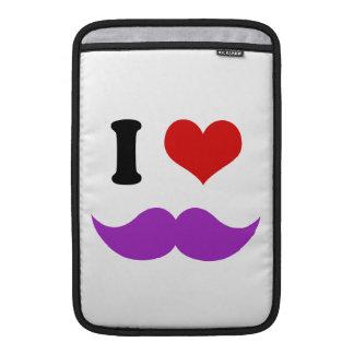 I Heart I Love Purple Mustaches MacBook Air Sleeve