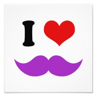 I Heart I Love Purple Mustaches Art Photo