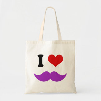I Heart I Love Purple Mustaches Tote Bag
