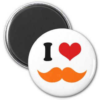 I Heart I Love Red Orange Mustache Magnet