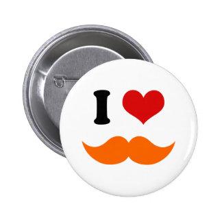 I Heart I Love Red Orange Mustache Pinback Button