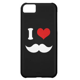 I Heart I Love White Mustaches Case For iPhone 5C