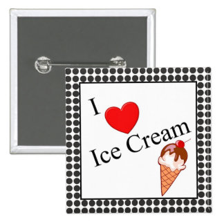 I Heart Ice Cream Pinback Buttons