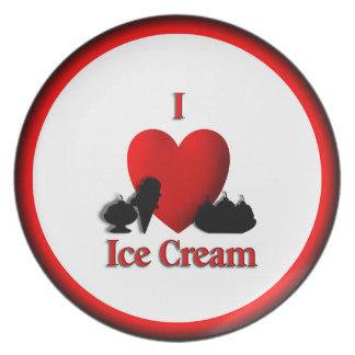 I Heart Ice Cream Dinner Plate