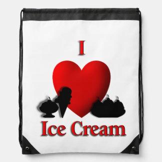 I Heart Ice Cream Drawstring Bag