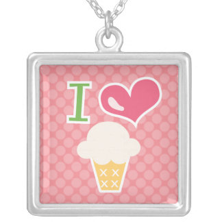 I Heart Ice Cream Necklace Pink