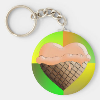 I (Heart) Ice Cream! Orange Sherbert Basic Round Button Keychain