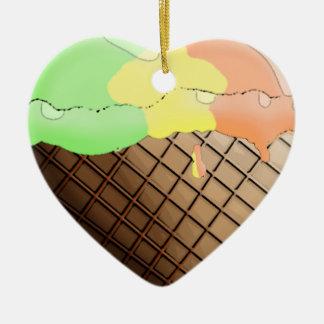 I (Heart) Ice Cream! Rainbow Sherbert Ceramic Ornament