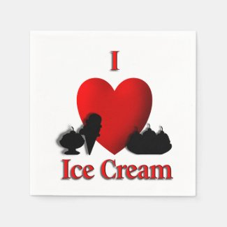 I Heart Ice Cream Standard Cocktail Napkin