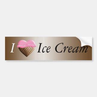 I (Heart) Ice Cream! Strawberry Pink Car Bumper Sticker
