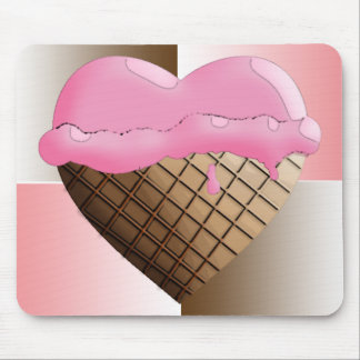 I (Heart) Ice Cream! Strawberry Pink Mouse Pad