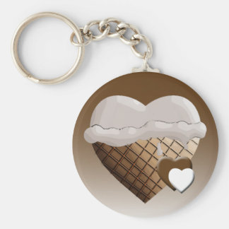 I (Heart) Ice Cream! Vanilla Basic Round Button Keychain