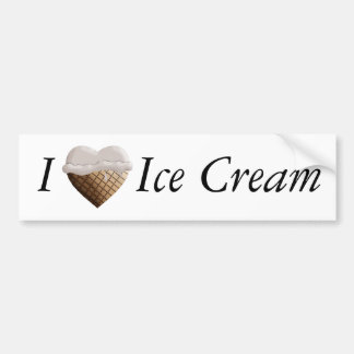 I (Heart) Ice Cream! Vanilla Bumper Sticker
