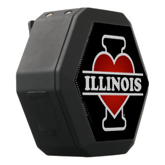 I Heart Illinois Black Bluetooth Speaker