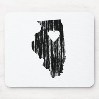 I Heart Illinois Grunge Worn Outline State Love Mouse Pad