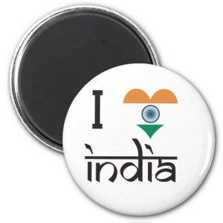 "I ""Heart"" India - I Love India 2 Inch Round Magnet"