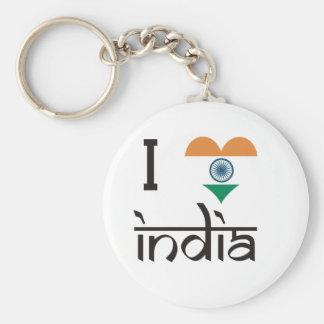 "I ""Heart"" India - I Love India Basic Round Button Keychain"