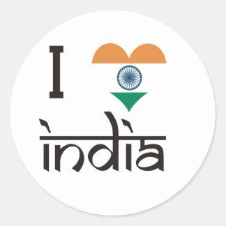 "I ""Heart"" India - I Love India Classic Round Sticker"