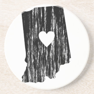 I Heart Indiana Grunge Worn Outline State Love Drink Coaster