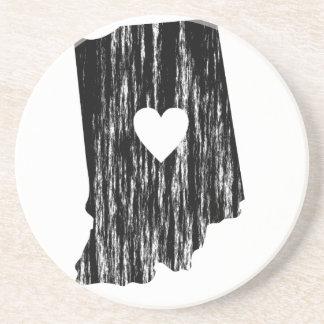 I Heart Indiana Grunge Worn Outline State Love Drink Coaster