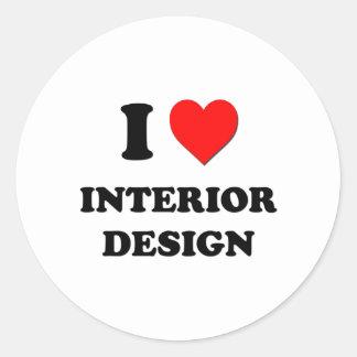 I Heart Interior Design Round Sticker