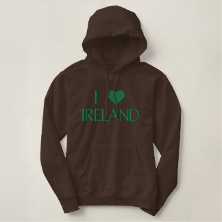 I HEART IRELAND with Green Heart Embroidered Hoodie