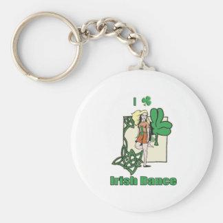 I heart Irish Dance Clover Basic Round Button Keychain