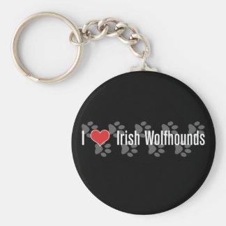 I (heart) Irish Wolfhounds Basic Round Button Keychain