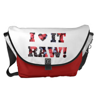 I heart it raw, raw foods messenger bag