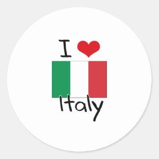I HEART ITALY ROUND STICKERS