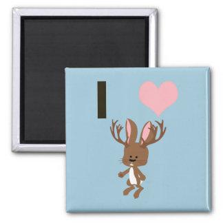 I heart Jackalope 2 Inch Square Magnet