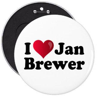 I Heart Jan Brewer 6 Inch Round Button