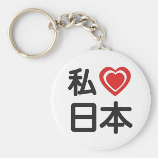 I Heart Japan Basic Round Button Keychain