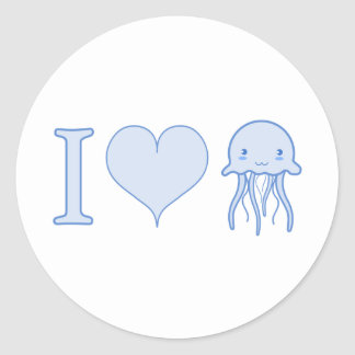 I Heart Jellyfish Classic Round Sticker