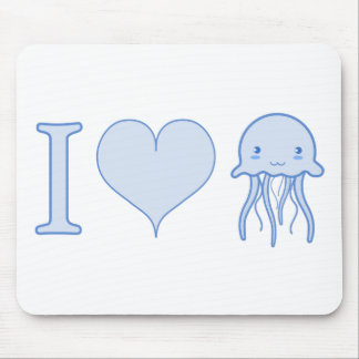 I Heart Jellyfish Mouse Pad