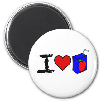 I Heart Juice Boxes 2 Inch Round Magnet